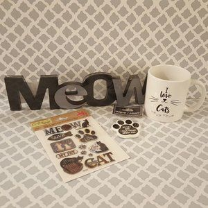 Other - Cat lovers lot - Meow sign, cats coffee mug & more